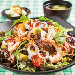 Steak Donburi with Shrimp a…