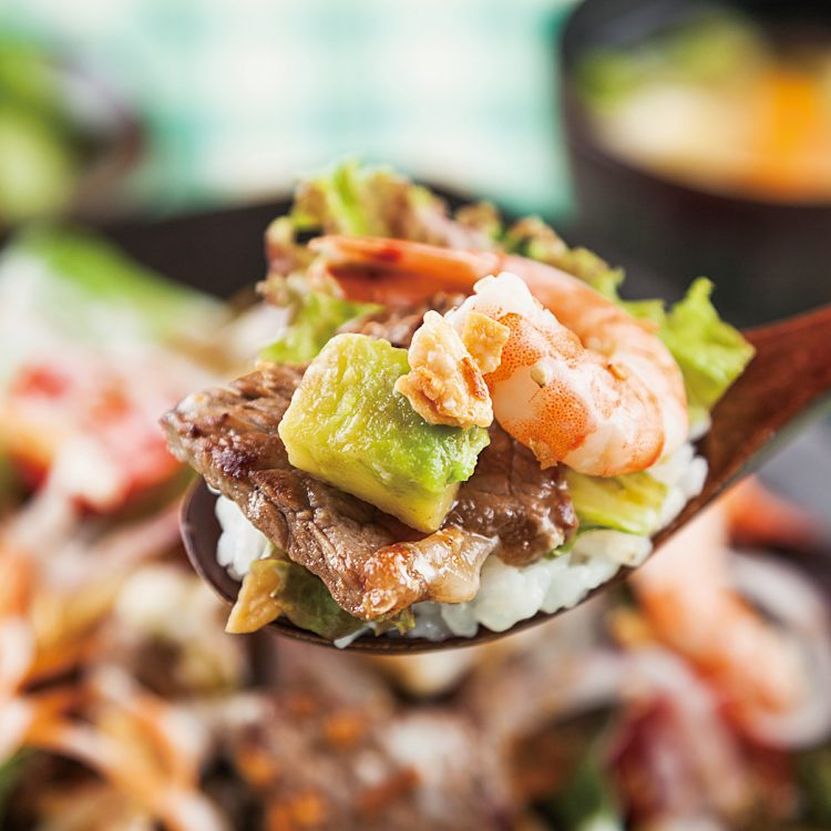 Steak Donburi with Shrimp and Avocado