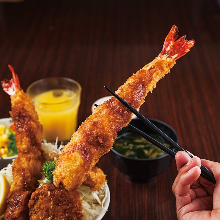 Pork cutlet Don with Fried prawn