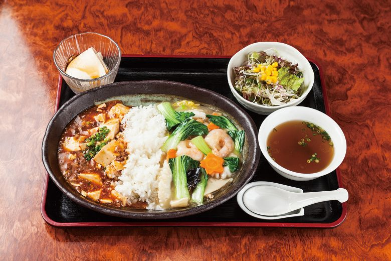 Seafood chukadon with Mapo tofu