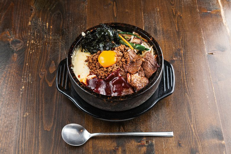 Bibimbap with cheese and Niigata Wagyu calvi