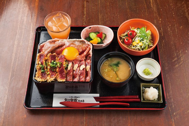 Beef cutlet Don with Beef sukiyaki and Beef steak Donburi