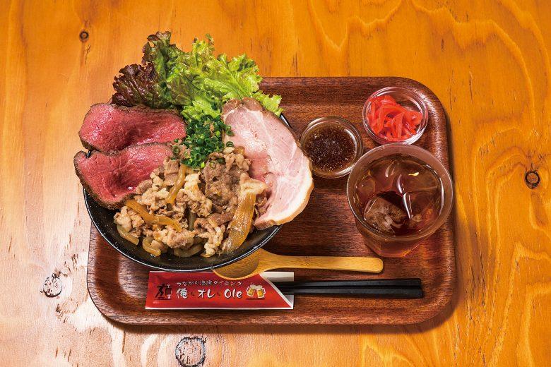 (日本語) 牛ぎゅっとA5ランクに焼豚ドーンだ丼
